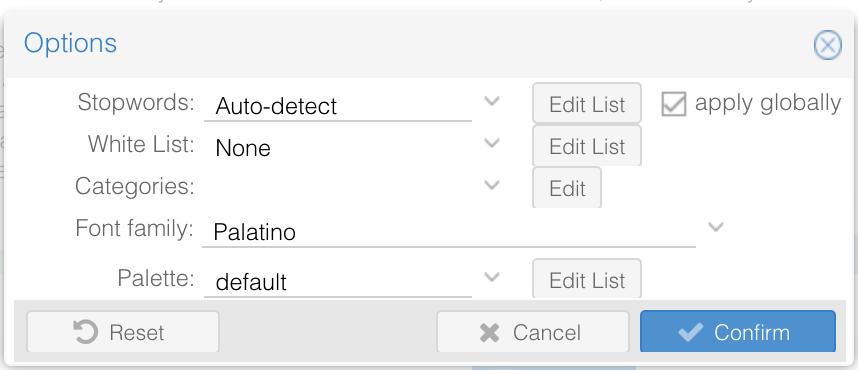 Voyant Tools Option settings screenshot
