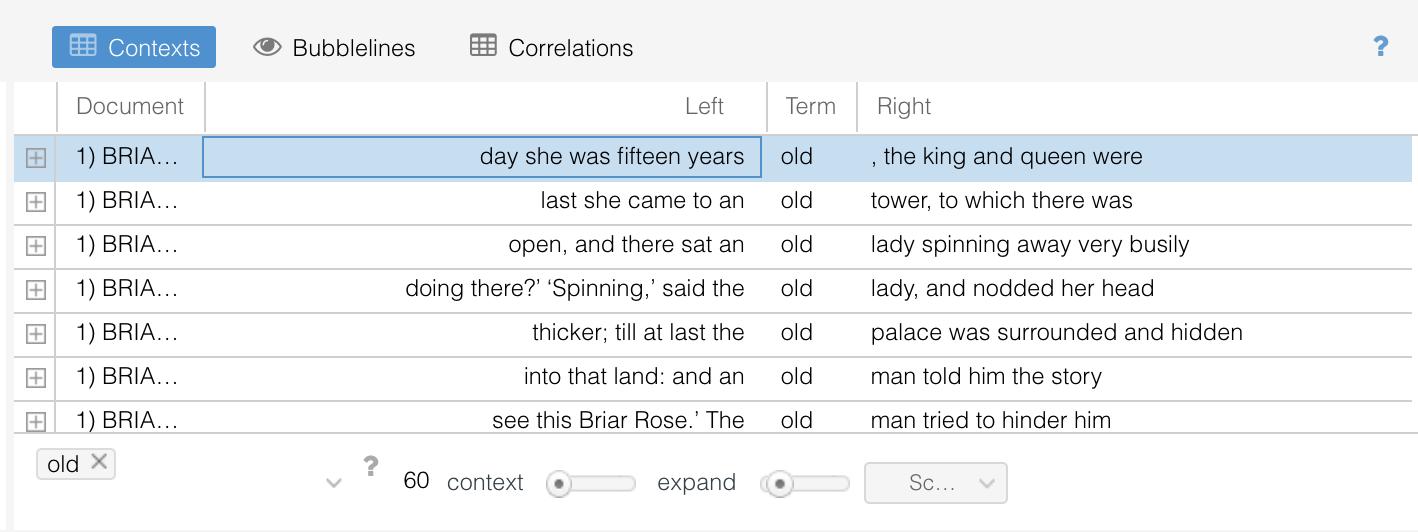 Voyant Tools Contexts Tool Select Row Screenshot