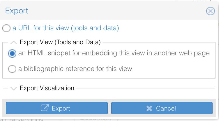 Voyant Tools Export HTML snippet screenshot