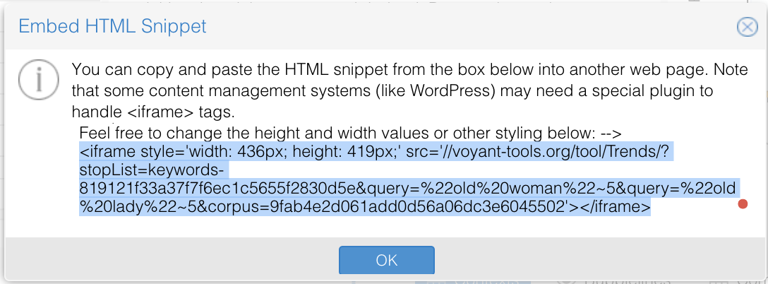 Voyant Tools iframe code highlighted screenshot